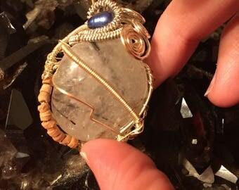 Tourminilated quartz wire wrapped pendant