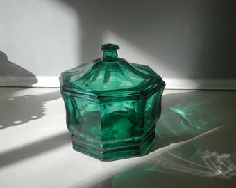 Vintage Green Indiana Glass Candy or Trinket Dish