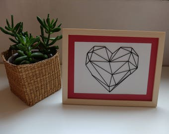 Embroidered table so geometric origami heart