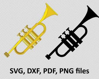 Trumpet SVG / Trumpet DXF / Trumpet Clipart / Trumpet Files, printing, Trumpet cutting, Trumpet silhouette, Trumpet vector, musical instrum