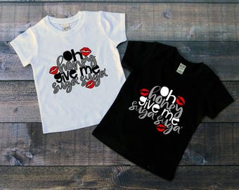 Children's Valentine's Day Tee Shirt, Oh Honey Give Me Suga Suga, Black or White Tee, Infants, Toddler, Youth, Girls or Boys Valentine Tee