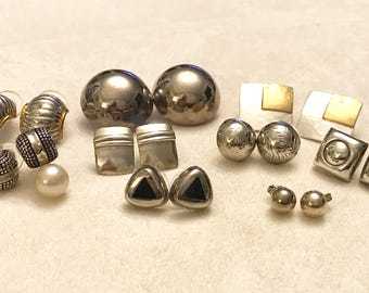 Vintage to Newer 925 Thai Sterling Silver Earring Lot of Nine Pairs