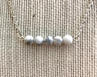 Stone bead bar necklace
