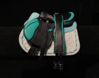 Black/Teal Jumping Saddle Set