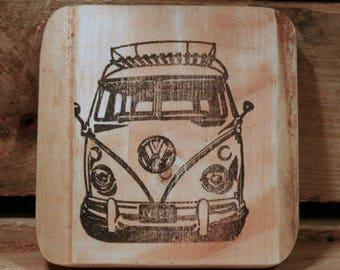 Set of 4 wooden coasters - VW camper van