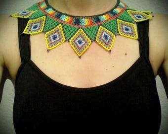 Chest and/or necklace Huichol Art of Chaquira Handmade. Yellow and green