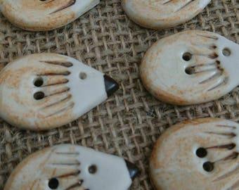 Set of Six  handmade ceramic rustic  hedgehog buttons/craft buttons/bespoke buttons/crochet/knitting/scrapbooking/sewing.