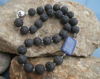 Lava chain 14 mm with lapis #518