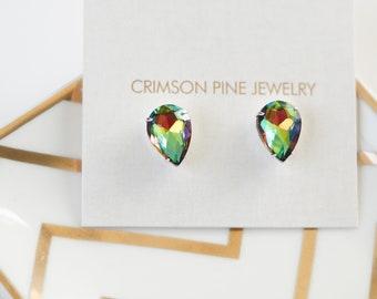 Rainbow Vitrail Pear Earrings, Pear Bridal Earrings, Everyday Earrings, Minimalist Earrings, Bridesmaids Earrings, Pear Shaped Earrings
