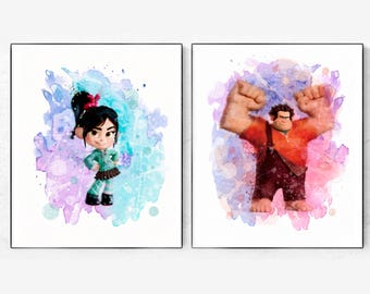 Ralph and Vanellope print, Ralph Watercolor, Wreck it Ralph, Vanellope Watercolor, Wreck It Ralph Poster, Ralph and Vanellope Decor, kids