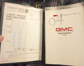 1994 GMC Sierra owner's manual set with gmc wallet