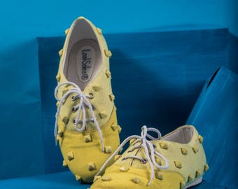 Yellow ombre studed lace ups
