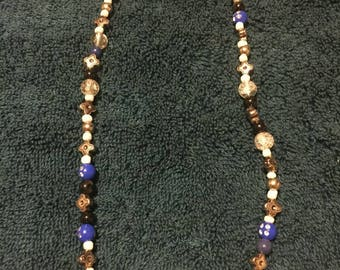 Blue with white and silver accent Beaded Necklace