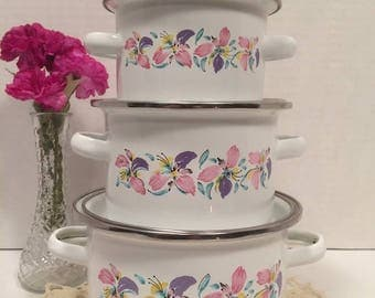 Porcelain Enamel on Steel Pot Set Made in Indonesia Pink and Purple Flowers