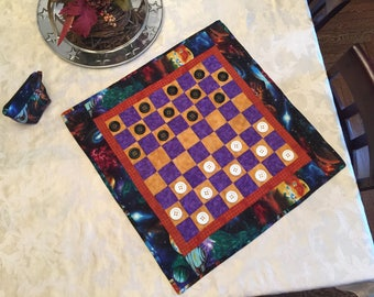 Outer Space/Checker Board Game/Quilted Travel Checkerboard with Game Pieces/Fabric Toy/Children Toy