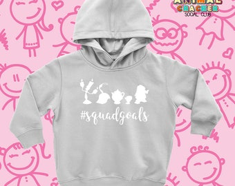 """Cute Childrens Hoodies with Saying """"Squad Goals"""" /Cute Kids Clothing for Little Girls/ Sweatshirts for Kids/ Motivational Hoodies/ Disney"""