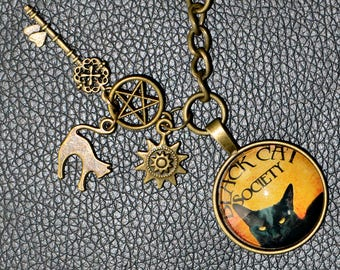 Black Cat Society Keychain with Cat, Skeleton Key, Sun, and Pentacle Keychain - Bronze Zinc Alloy - 2.50 shipping on keychains