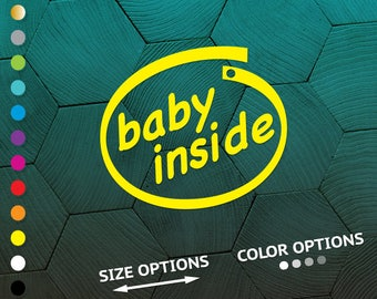 baby inside, baby inside decal, baby inside vinyl, baby inside sticker, baby on board decal, baby on board, on board vinyl