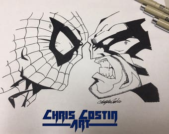 Spider-Man vs Wolverine Ink Drawing (Fan Art)
