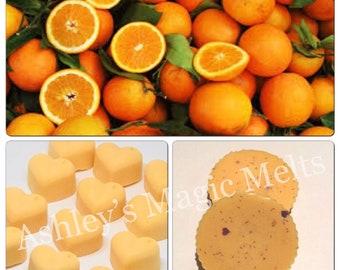 5 orange wax melts, fruit scented melts, cheap wax melts, citrus melts, food wax melts, highly scented wax melt tarts