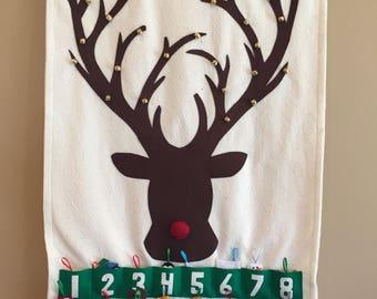 Handmade Felt Brown Reindeer Advent Calendar with Ornaments