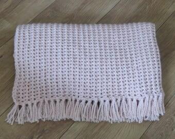 Crochet Blanket, color: old-Pink