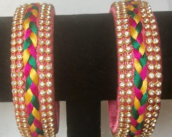 Silk Thread Bangle Set with Kundan