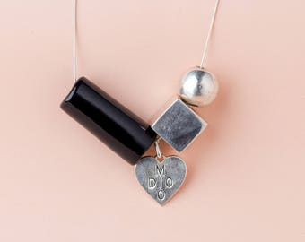 Black tube and Silver cube necklace