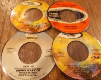 Set of 4 Dionne Warwick Scepter Arista 45rpm hand cut laminate coasters