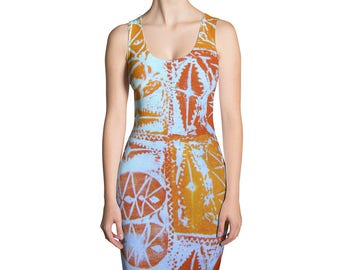 Afro Abstract Fitted Dress