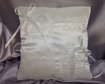 Wedding Ring Cushion, Personalised Ring Bearer Pillow, Bridal Accessory, Bridal Keepsake, Hearts, White or Ivory, 7 inches, RC-1