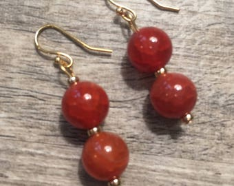 Amber dyed agate gemstone and 14k gold filled beaded earrings