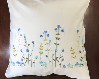 Embroidered cotton pillow cover White cushion pillowcase with blue and sky blue flower; Wedding, birthday, easter, housewarming gift