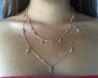 Moon and Stars Necklace Semi Chocker in Gold