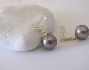 10-11mm Natural Lavender Mauve Edison Pearl Earrings w/Cubic Zirconia in Gold 925 Sterling Silver Earwire,Natural Drop Pearl Bridal Earring