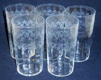 "5 Fostoria Large CLOVERLEAF Crystal Tumblers Vintage flat bottom glasses stemware Needle etched Elegant Glass 4-3/8"" tall"