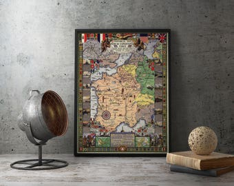 Printable Poster - Historical Map, American Experditionary Forces, Antique Maps, European map, world maps, vintage maps, instant download