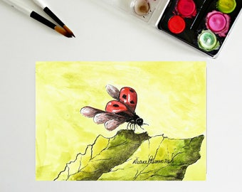 5 x 7, Lady Bug in Flight, ink and watercolor, printable art, downloadable art, art printables, folk art, tiny painting, insects, cute