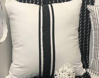 Black Distressed Striped pillow