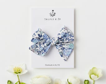 Liberty Felicite Blue Pinwheel Bow - Knotted Bow - Liberty Bow Clip - Liberty Baby Hair Clip - Oversized Bow Clip - Baby Nylon Headband