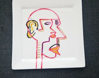 "Porcelain plate ""Ethnik"" square edge"