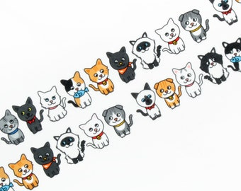 Cat Washi Tape, Japanese Masking Tape, Cute Kitten, Die Cut, Round Top, Japanese Stationery, Animal Washi