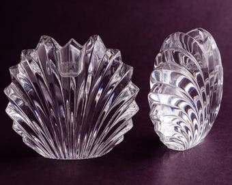 Pressed Glass Shell Candle Holder