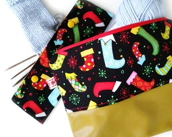 New Year Project Bag, Knitting Project Bag, Needls Holder, Zippered Bag, Sock Knitting Bag