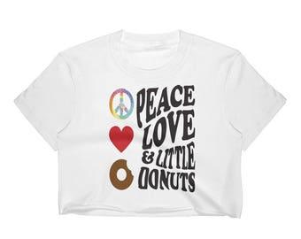 Peace Love & Little Donuts Women's Crop Top