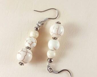 Howlite earrings for women, Beaded earrings, Earrings for girls, Womens earrings, Gemstone earrings, Womens gift, Girls gift, Gift for women