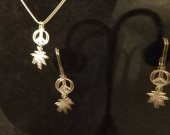 Necklace & Earring Set Peace Symbol And  Leaf.