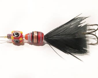 Red & Black Feathered Lure