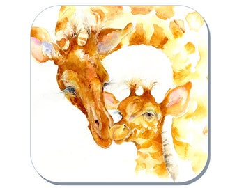Quality Time - Giraffe Coaster (Corked Back). From an original Sheila Gill Watercolour Painting
