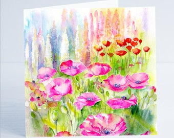 Pink Poppies Flower Greeting Card by Sheila Gill
